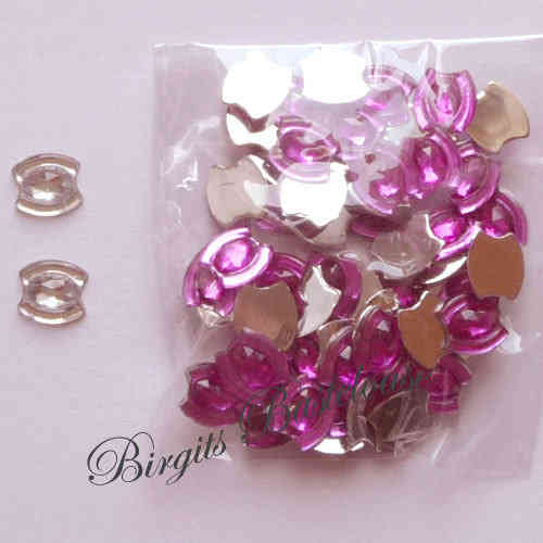 50 Glitzersteine oval facettiert pink 04