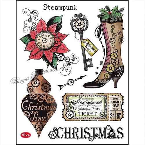 Viva Decor Stempel Clear Stamp Steampunk Christmas 116