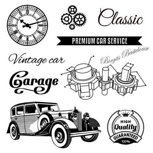 ScrapBerry's Clear Stamps Auto Vintage Garage Oldtimer 4017