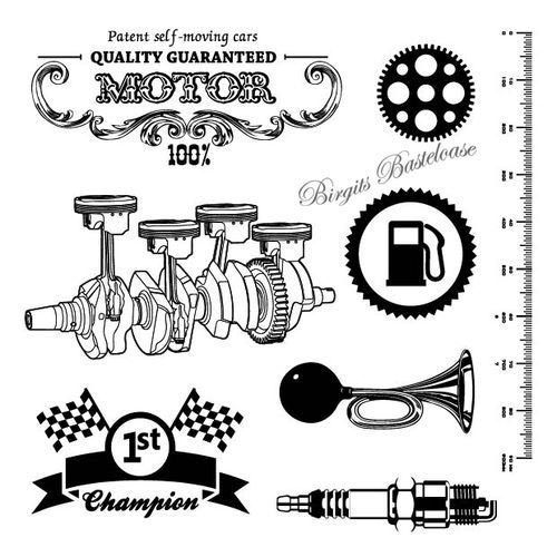 ScrapBerry's Clear Stamps Auto Vintage Motor 4018