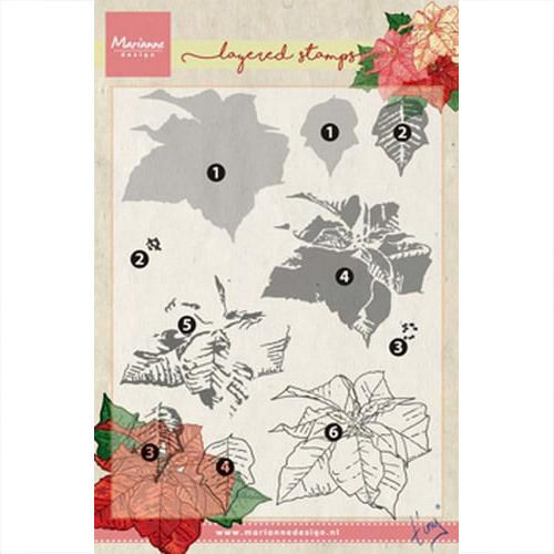 Marianne Design Clear Stamp Tiny's poinsettia Weihnachtsstern TC0859