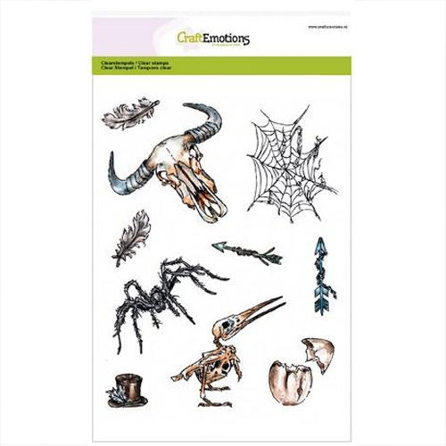 CraftEmotions Clear Stamps Halloween Spinne Spinnennetz 3002