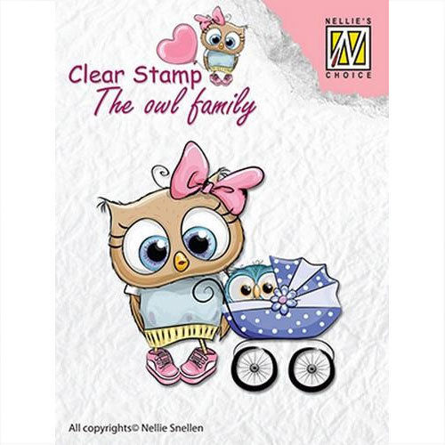 Nellie's Clear Stamp Eule - Mutter mit Baby CSO006