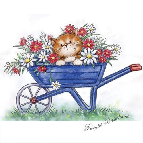 Wild Rose Studio Clear Stamp Cat in Wheelbarrow CL516