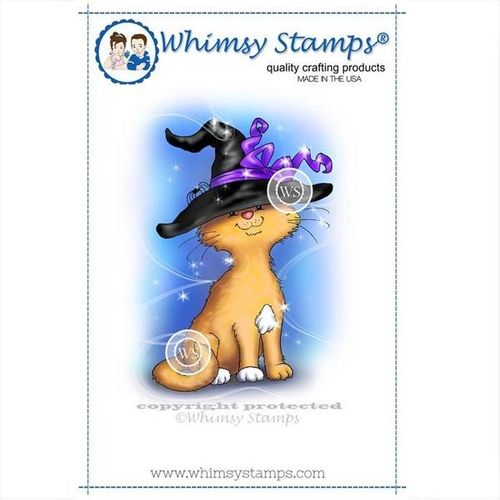 Whimsy Stamps Cat Witch C1191