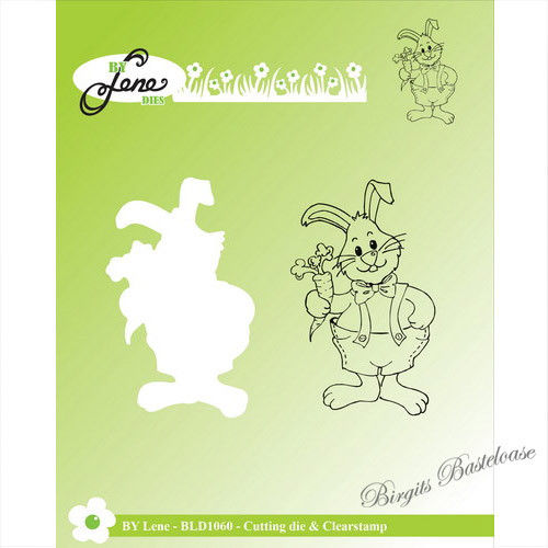 By Lene Stanzschablone + Clear Stamp Hase mit Möhre BLD1060