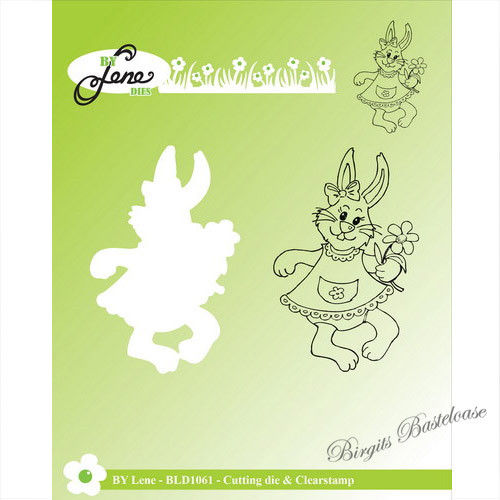 By Lene Stanzschablone + Clear Stamp Hase mit Blume BLD1061