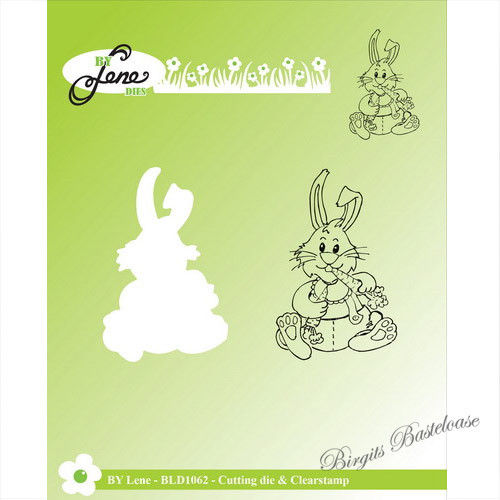 By Lene Stanzschablone + Clear Stamp Hase sitzend BLD1062