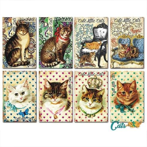 Decorer Topper Vintage Motive Katzen - Cats 038