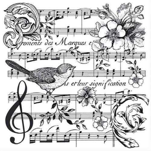 Stamperia Stempel Notenblatt Mit Blumen Und Vogel Wtkcc142