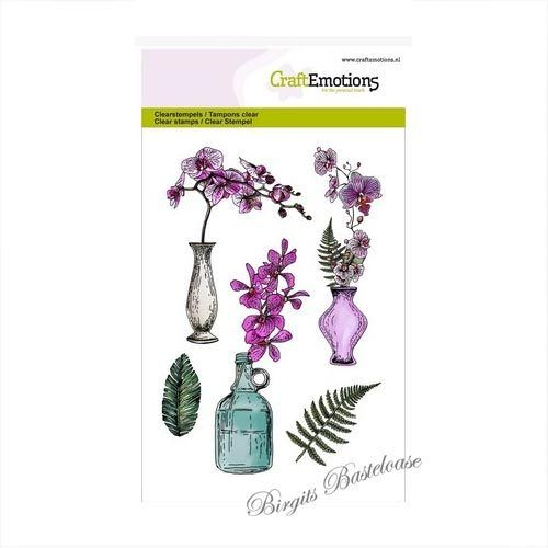 CraftEmotions Clear Stamps A6 - Orchidee, Vasen 130501/1242