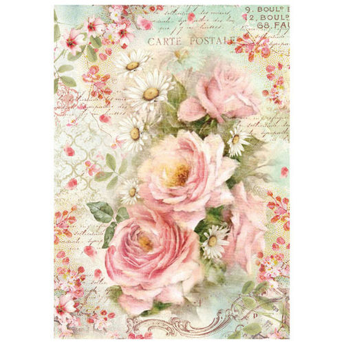 Stamperia Decoupage Rice Paper A4 Roses and Daisy DFSA4223