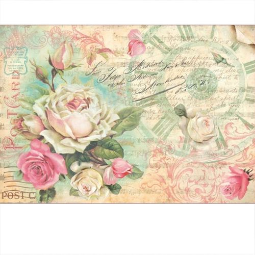 Stamperia Decoupage Rice Paper A3 Vintage Rosen DFS309