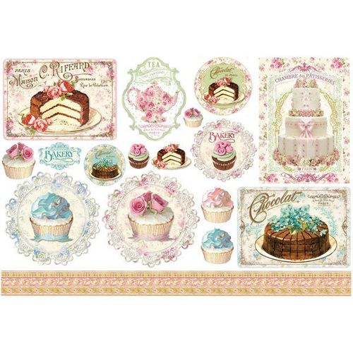 Stamperia Decoupage Rice Paper A3 Kuchen Cupcakes DFS313