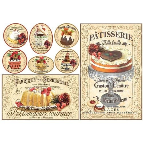 Stamperia Decoupage Rice Paper A3 Patisserie DFS339