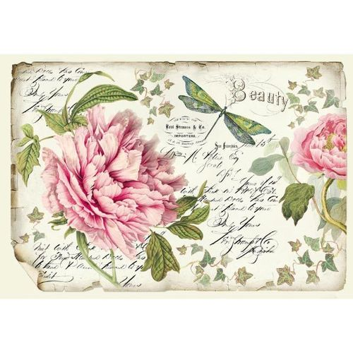 Stamperia Decoupage Rice Paper A3 Pfingstrose Peony DFS355