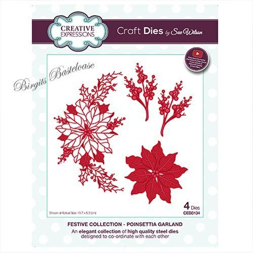 Creative Expressions Poinsettia Garland Stanzschablone CED3134
