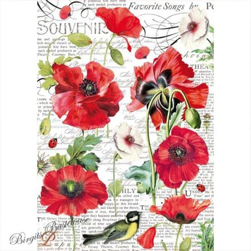 Stamperia Decoupage Rice Paper A4 Mohnblumen DFSA4306