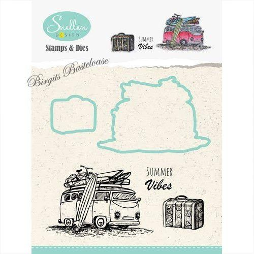Nellies Stanzschablone + Clear Stamps Set Bus HDCS002