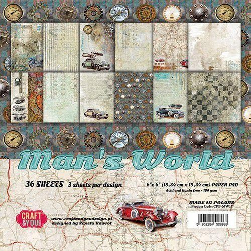 Craft&You Paper Pad 15 x 15 Man's World CPB-MAN15