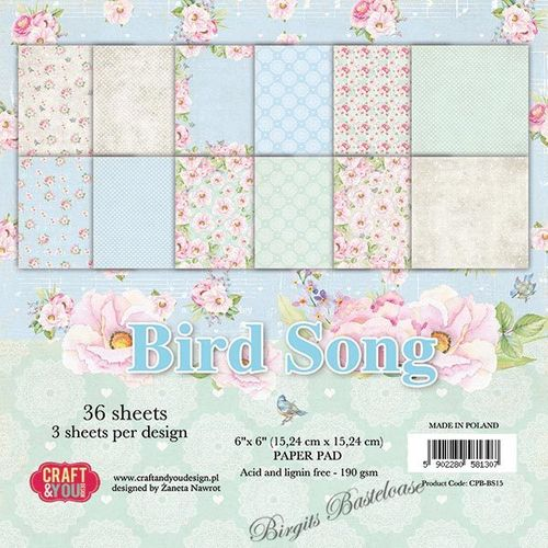 Craft&You Paper Pad 15 x 15 Bird Song CPB-BS15