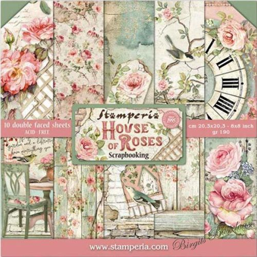 Stamperia Paper Pad 20,3 x 20,3cm House of Roses SBBS08