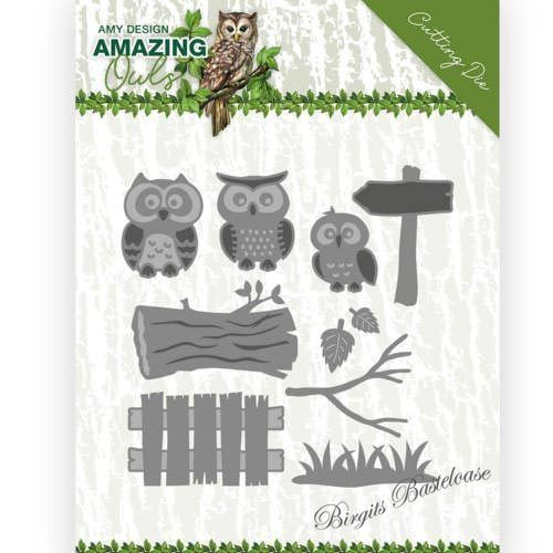 Amy Design Stanzschablone Eulen Familie Owl Family ADD10217