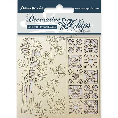 Stamperia Holz Ornamente Flowers and Tile SCB02